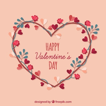 Flacher Valentinstag Hintergrund