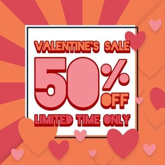 Flacher valentinstag limitierter angebotsverkauf