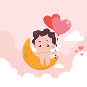 Flacher valentinstag mit niedlicher illustration