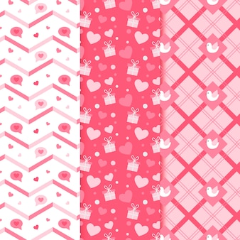 Flacher valentinstag-mustersatz
