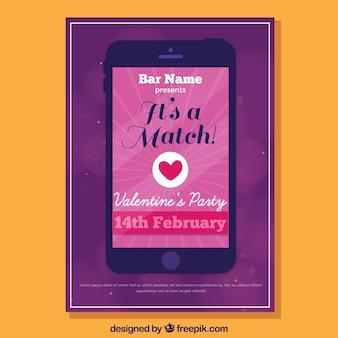 Flacher valentinstag party flyer / poster