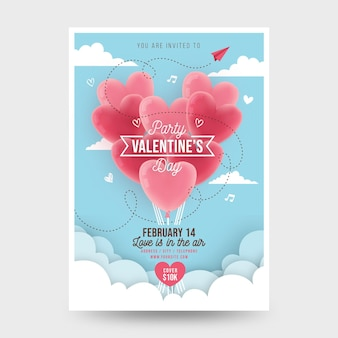 Flacher valentinstag party flyer