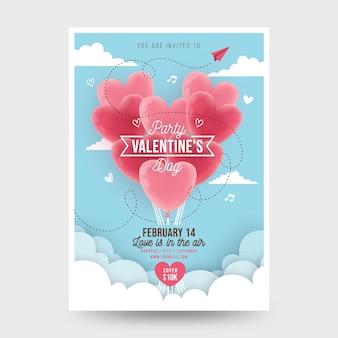 Flacher valentinstag party flyer
