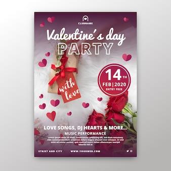 Flacher valentinstag-partyflieger / -plakat