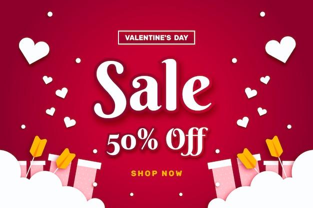 Flacher valentinstag-verkaufsrabatt