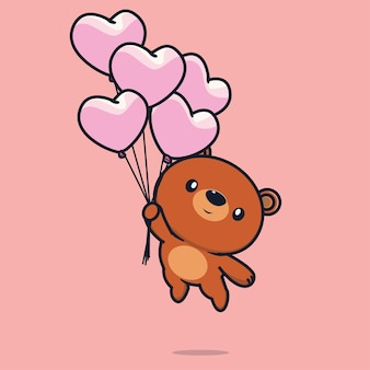 Flacher valentinstagbär fliegt