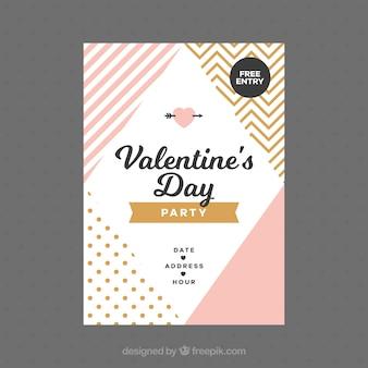 Flacher valentinstagflieger / -plakat