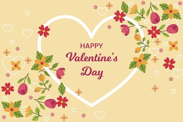 Flacher valentinstaghintergrund mit begrüßung