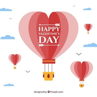 Flacher valentinstaghintergrund mit herzen baloon