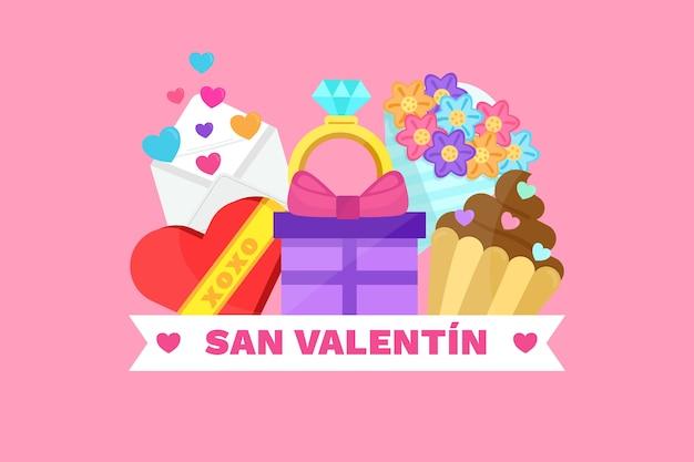 Flacher valentinstaghintergrund mit liebeselementen