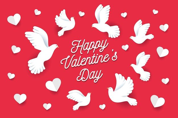 Flacher valentinstaghintergrund mit tauben