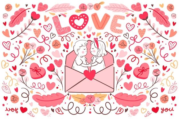 Flacher valentinstaghintergrund