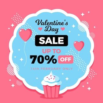 Flacher valentinstagverkauf mit cupcake