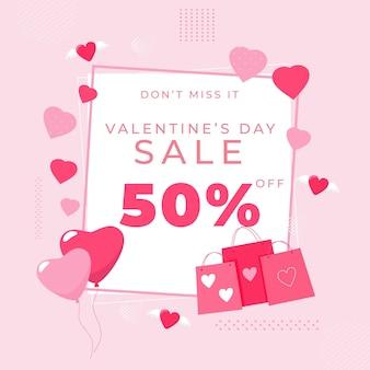 Flacher valentinstagverkauf mit einkaufstüten