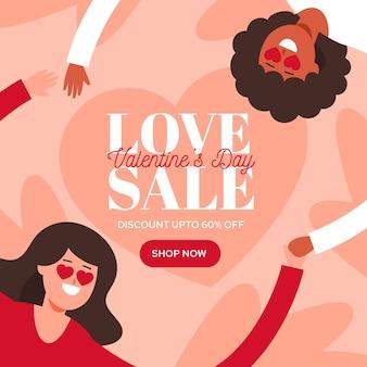 Flacher valentinstagverkauf mit weiblichen homosexuellen paaren