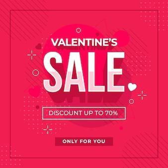 Flacher valentinstagverkauf und memphis-effekt