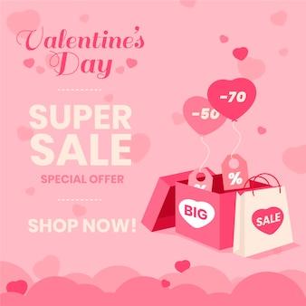 Flacher valentinstagverkaufshintergrund