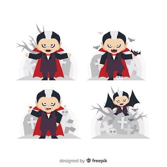 Flacher vampir mit schwarzweiss-frisur