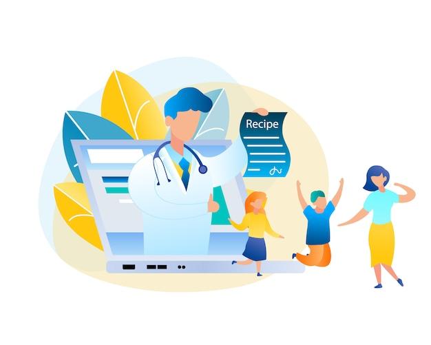 Flacher vektor-online-konsultationsarzt und patient. männlicher kinderarzt der illustration im weißen medizinischen kleid, laptop-bildschirm, der behandlungs-rezept heraus hält. glückliche mutter und kinder springen kurierte krankheit