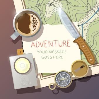 Flacher vektorhintergrund zum thema überleben in der wildnis, camping, reisen usw.