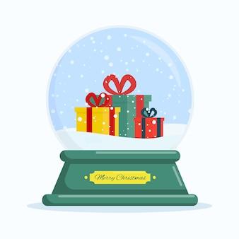 Flacher vektorillustrationsschneeball mit geschenken frohe weihnachten und ein glückliches neues jahr