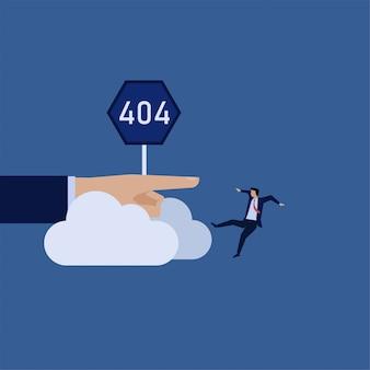 Flacher vektorkonzeptgeschäftsmann des geschäfts fiel von der wolke mit der metapher des zeichens 404 der verbindung aus.