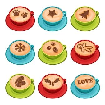 Flacher vektorsatz von bechern heißen kaffees mit latte kunst des zimtpulvers