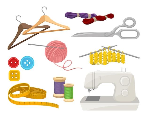 Flacher vektorsatz von objekten im zusammenhang mit dem thema nähen und stricken.