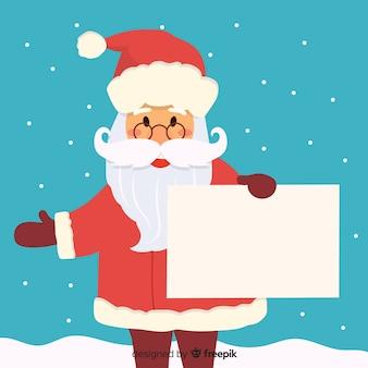 Flacher weihnachtscharakter, der weiße leere karte hält