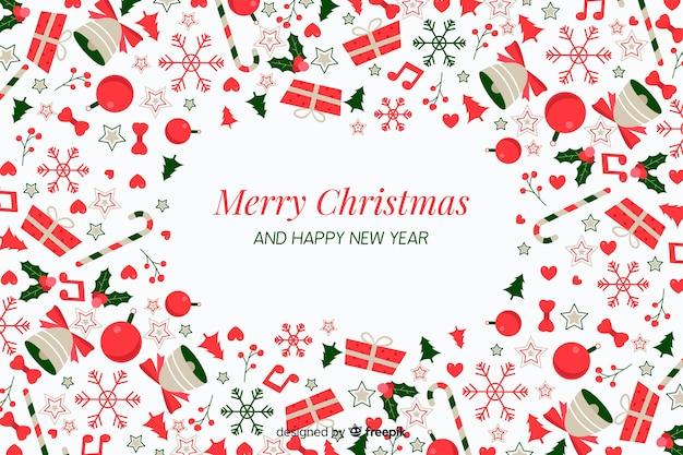 Flacher weihnachtshintergrund mit dekoration und geschenken