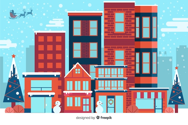 Flacher weihnachtshintergrund mit den häusern bereit zu weihnachten