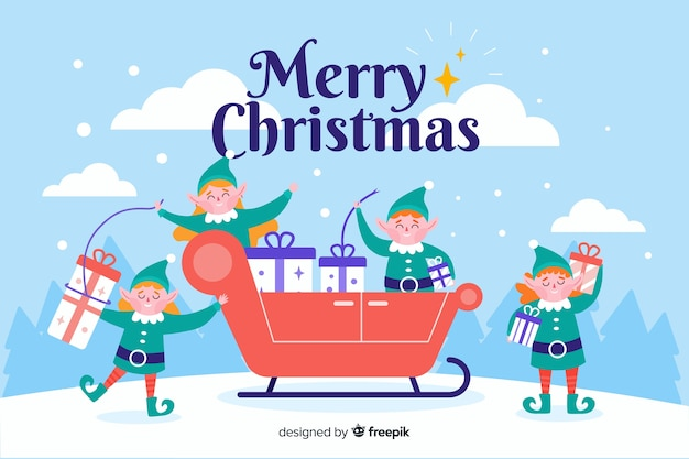 Flacher weihnachtshintergrund mit elfen