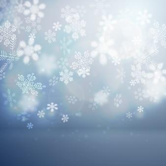 Flacher weihnachtshintergrund mit fallender schneeflockenvektorillustration