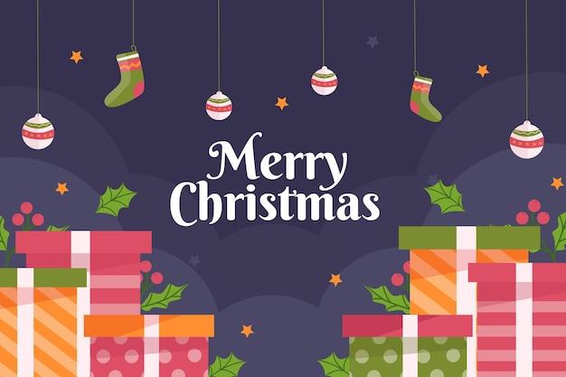 Flacher weihnachtshintergrund mit geschenken