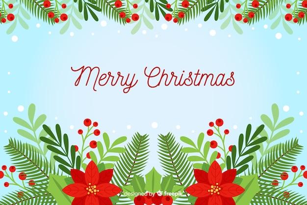 Flacher weihnachtshintergrund mit hübschen blumen