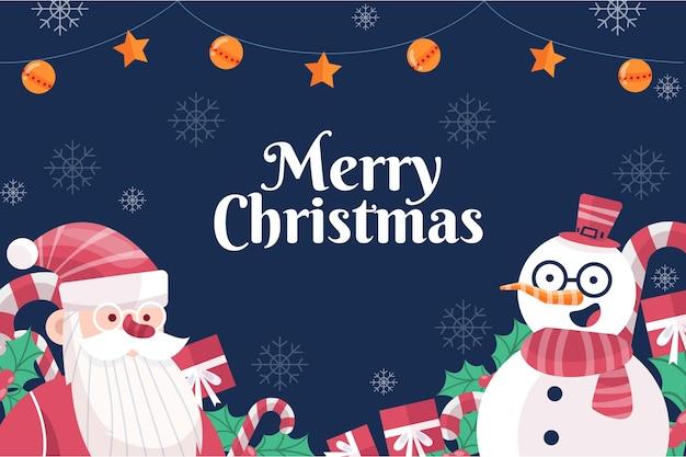 Flacher weihnachtshintergrund mit schneemann und weihnachtsmann