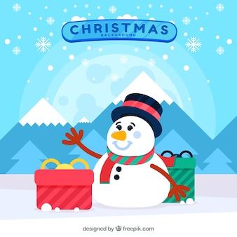 Flacher weihnachtshintergrund mit schneemann