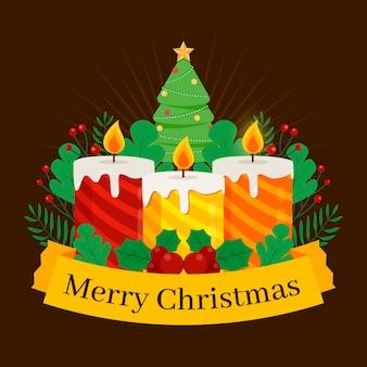 Flacher weihnachtskerzenhintergrund