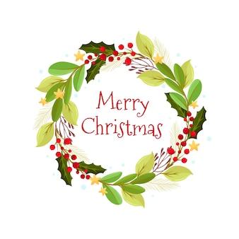 Flacher weihnachtskranz mit blumen
