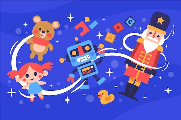 Flacher weihnachtsspielzeughintergrund