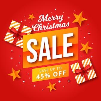 Flacher weihnachtsverkauf mit eingewickelten geschenkboxen