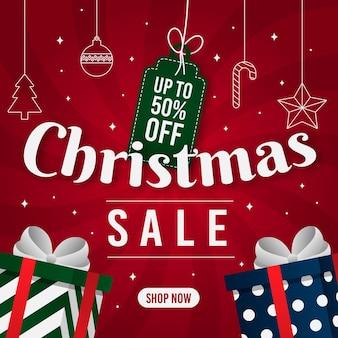 Flacher weihnachtsverkauf mit geschenken
