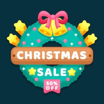 Flacher weihnachtsverkauf mit rabatt
