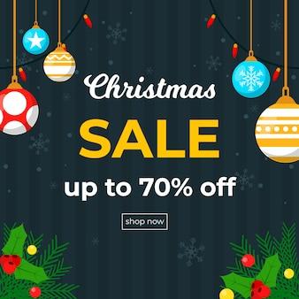 Flacher weihnachtsverkauf mit weihnachtshängenden bällen