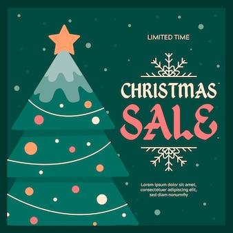Flacher weihnachtsverkauf und baum mit lichterketten