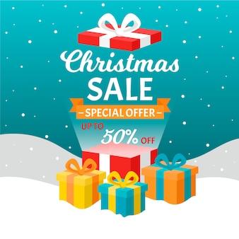 Flacher weihnachtsverkauf und eingewickelte bunte geschenkboxen