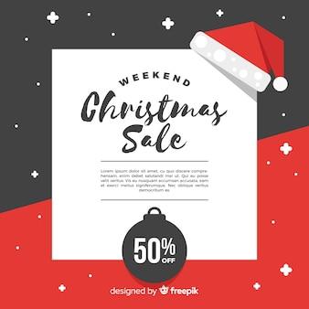 Flacher weihnachtsverkaufshintergrund mit platz für text