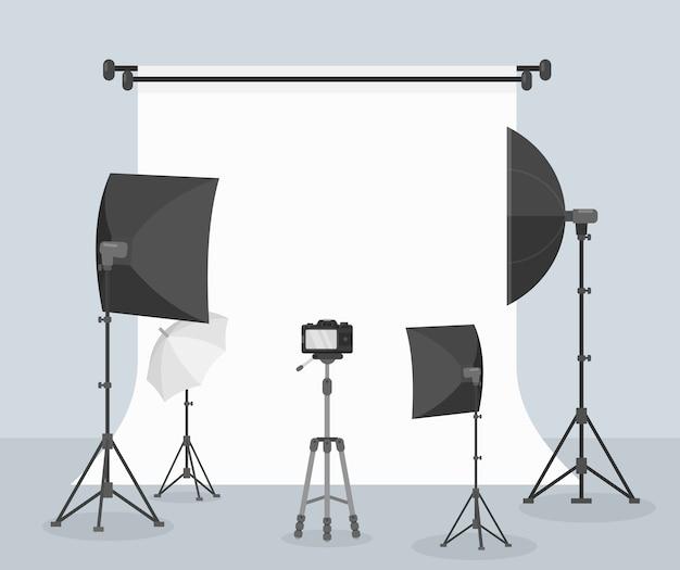 Flacher weißer hintergrund der fotoausrüstung zum aufnehmen von bildkameraobjektiven