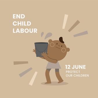 Flacher welttag gegen kinderarbeitsillustration
