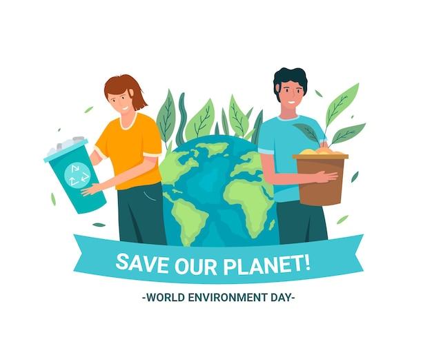 Flacher weltumwelttag retten die planetenillustration